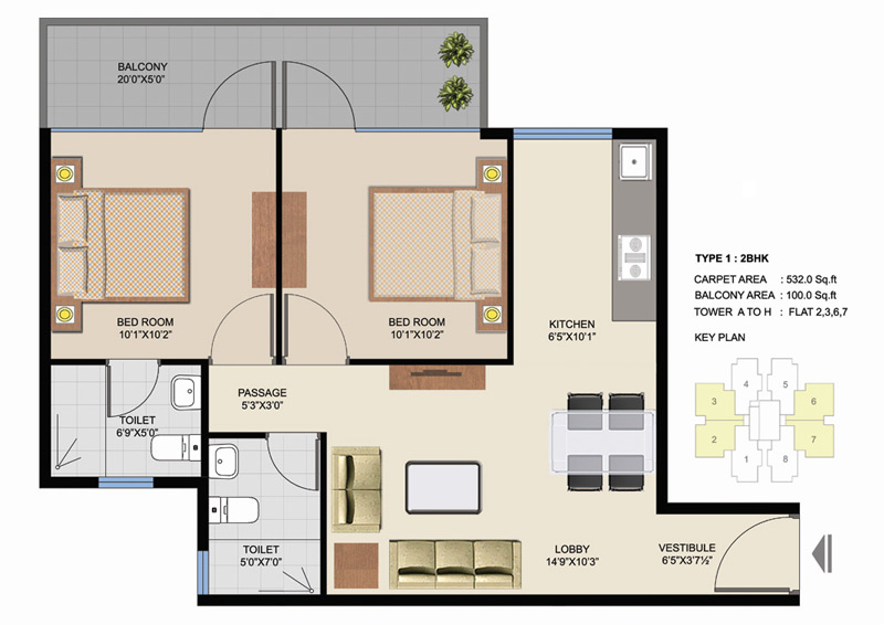 Type 1 of 2 BHK